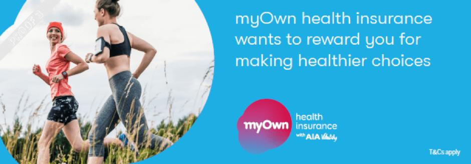 myOwn health insurance banner showing two woman running